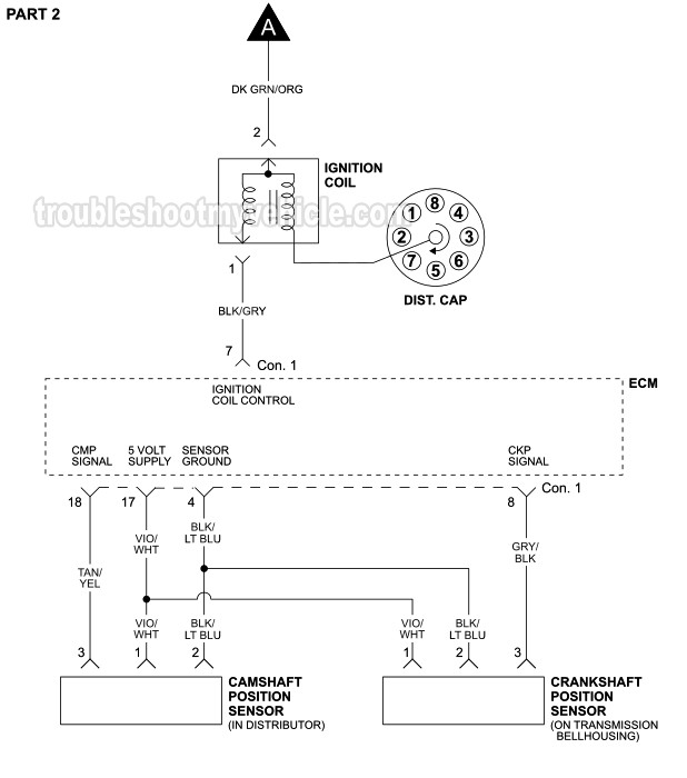 Ignition System Wiring Diagram  2001 5 2l V8 Dodge Pickup