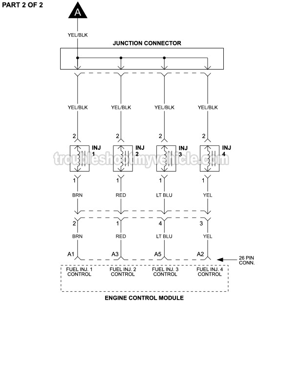 Fuel Injector Circuit Wiring Diagram  1992